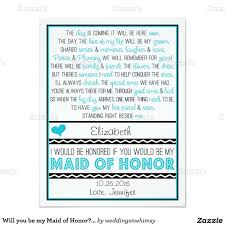 Wedding Poems For Invitation Cards Will You Be My Maid Of Honor Turquoise Black Poem 4 25x5 5 Paper