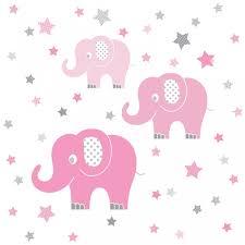 kinderzimmer wandsticker wandsticker elefanten rosa grau 48 teilig
