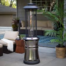 Living Flame Patio Heater by Red Ember Carbon Collapsible Gun Metal Glass Tube Patio Heater