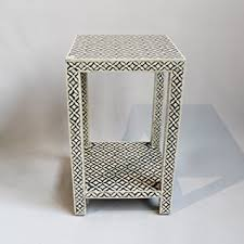 bone inlay side table amazon com bone inlay side table grey home kitchen