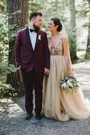 wedding dress maroon maroon groom suit chagne bridal gown wedding inspiration
