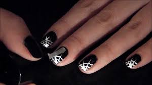 easy halloween nails sparkle spider webs youtube