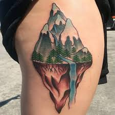 11 mountain tattoos on side rib