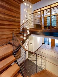 stairwell lighting staircase midcentury with banister cabin