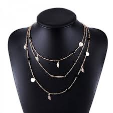 silver chain pendant necklace images Beautiful multi layer gold silver chain beads leaves pendant jpeg