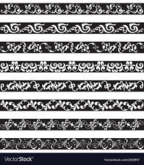 black white ornament border designs royalty free vector