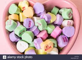 heart candies conversation heart candies in pink bowl stock photo 93778841 alamy