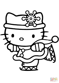hello kitty skating coloring page free printable coloring pages