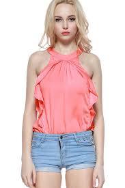 blouse ruffles pink neck sleeveless ruffles decor blouse top womens