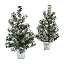 shop nearly set of 2 1 ft 6 in flocked mini pine artificial