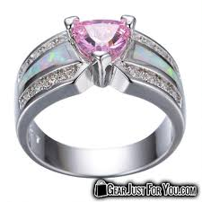 opal wedding ring pink heart opal wedding ring for women gear just for you
