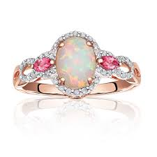 pink gold engagement rings jk crown oval opal diamond pink tourmaline ring in gold