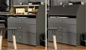 secretaire moderne bureau meuble secrétaire design en bois finition cachemire lori vox