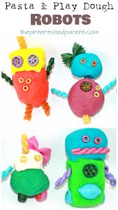 pasta and play dough or clay robots arts and crafts for kids and