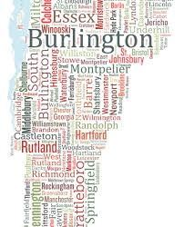 State Of Vermont Map by Vermont Typography Map