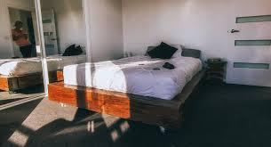 Ground Bed Frame Apartment Railway Sleeper Bed Frame Add A Headboard Flat On