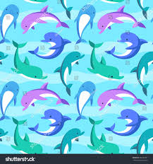 colorful dolphins playing waves vector seamless stock vector