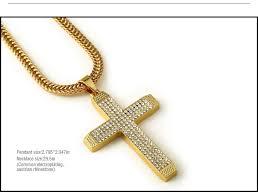 necklace pendant size images Wholesale fashion gold men necklace cross pendant long chain for jpg