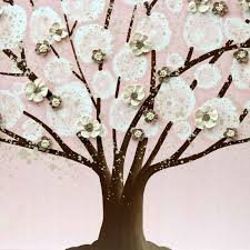 pink and brown nursery wall tree on canvas large amborela
