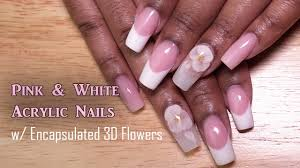 pink and white acrylic nails 3d encapsulated flowers