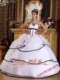white quinceanera dress strapless satin and organza appliques ball