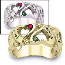 s ring personalized s i you birthstone hearts ring