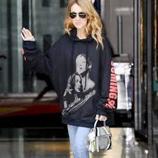 celine dion wears u0027titanic u0027 sweatshirt from hoodie in paris pret