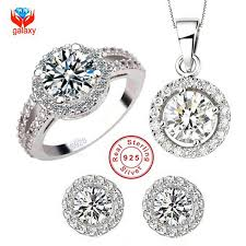 sterling silver necklace sets images Yhamni brand 925 sterling silver wedding dress jewelry sets luxury jpg