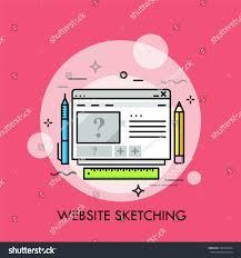 digital drawing website browser window pen pencil ruler concept stock vector 767636524