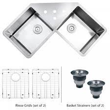Enamel Sinks Kitchen 43 Inch Stainless Steel Undermount Butterly Corner Double Bowl