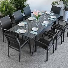 8 Seater Patio Table And Chairs Garden Table Set Virginia Grey 8 Person Aluminium Extending