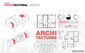 architectural layouts architectural layouts in trendy polygonal line composition thin