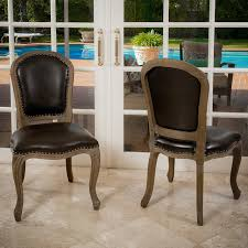 Leather Dining Room Furniture Trafford Leather Weathered Wood Dining Chairs Set Of 2 Modern