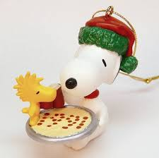 vtg hallmark snoopy and woodstock pizza ornament 1991 qx5197