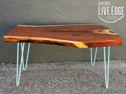 live edge coffee table walnut aqua robin egg blue dark wood