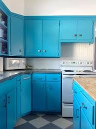 Contemporary Turquoise Blue Kitchen Features Turquoise Cabinets - Turquoise kitchen cabinets