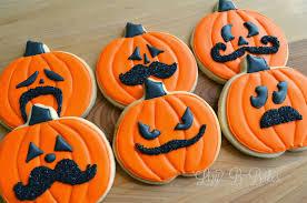 Halloween Pumpkin Sugar Cookies by Lizy B Halloween Mustache Cookies