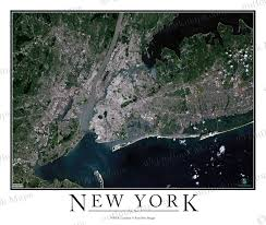 New York City Area Map by New York City Area Satellite Map Print Aerial Image Poster