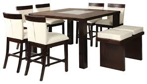 Dining Room Bench Sets Keelin Modern 8 Piece Dining Set Espresso Finish Contemporary