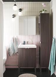 bathroom furniture ideas ikea white small bathroom with dark brown high cabinet mirror and