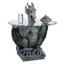 Glass Top Side Table Dragon Gray Sculptural Dragon Table With Glass Top 31 Inches