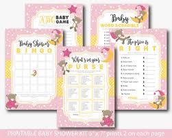 pink teddy bear baby shower games set pink bear baby shower games