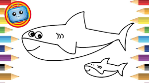 draw shark colouring book simple drawing game