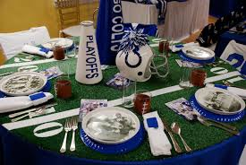 football centerpieces colts theme party setting the mood
