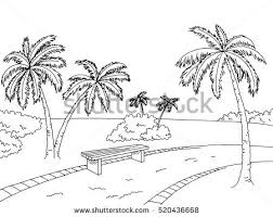 park palm trees graphic art black stock vector 520436668