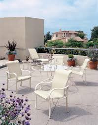 White Metal Chairs Outdoor Furniture White Metal Lounger By Tropitone Furniture With Purple