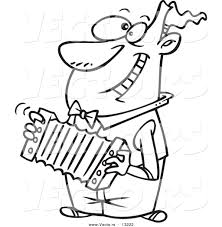 vector of a cartoon happy man playing an accordion coloring page