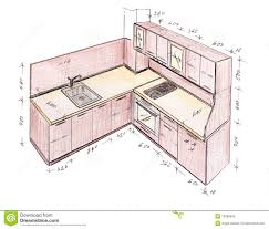 Kitchen Design Drawings Modern Interior Design Kitchen Freehand Drawing Stock