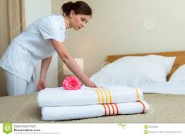 Bed Making Maid Making Bed In Hotel Room Stock Photo Image 49310350