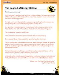 the legend of sleepy hollow u2013 free reading and comprehension